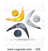 Logo of a Pre-Made Logo of Three Yellow, Chrome and Black People Celebrating or Dancing Together by Beboy