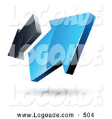 Logo of a Pre-Made Logo of Two Blue and Gray Arrows Going in Opposite Directions by Beboy