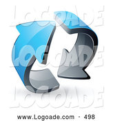 August 26th, 2013: Logo of a Pre-Made Logo of Two Circling Blue Arrows on White by Beboy