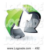August 20th, 2013: Logo of a Pre-Made Logo of Two Circling Green Recycle Arrows by Beboy