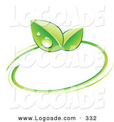 Logo of a Pre-Made Logo of Two Green Dew Covered Leaves and a Ring Around a Space for a Business Name and Company Slogan by Beboy