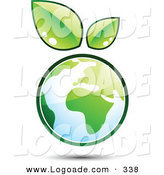 Logo of a Pre-Made Logo of Two Green Leaves Sprouting on Top of a Globe, to the Left of a Space for a Business Name and Company Slogan by Beboy