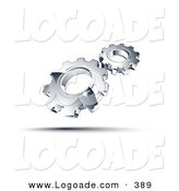 Logo of a Pre-Made Logo of Two Shiny Silver Gears Above Space for a Business Name and Company Slogan by Beboy