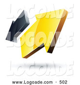 August 30th, 2013: Logo of a Pre-Made Logo of Yellow and Gray 3d Arrows Going in Opposite Directions by Beboy