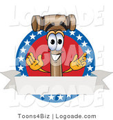 Logo of a Proud Patriotic Mallet Mascot Cartoon Character by Toons4Biz