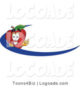 Logo of a Red Apple Character Mascot Logo Name Tag with a Blue Swoop by Toons4Biz