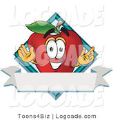 Logo of a Red Apple Character Mascot with a Blue Diamond and White Label by Toons4Biz
