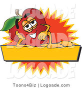 Logo of a Red Apple Character Mascot with a Yellow Label by Toons4Biz