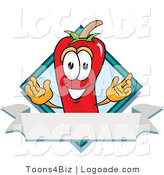 Logo of a Red Chili Pepper Mascot Cartoon Character with a Blue Diamond and Blank Label by Toons4Biz