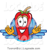 Logo of a Red Hot Chili Pepper Mascot Cartoon Character Logo by Toons4Biz