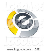 Logo of a Reflective Letter E Circled by Chrome and Yellow Bars by Beboy
