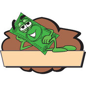 Logo of a Relaxed Dollar Bill Mascot Cartoon Character Reclining on a Blank Tan and Brown Label by Toons4Biz
