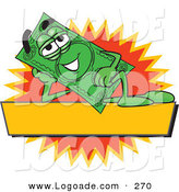 Logo of a Resting Dollar Bill Mascot Cartoon Character Reclining over a Blank Yellow Label by Toons4Biz