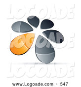 Logo of a Ring, Circle of Chrome and Orange Droplets Forming a Windmill by Beboy