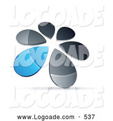 Logo of a Ring or Circle of Chrome and Blue Droplets Forming a Windmill by Beboy