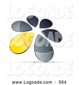 Logo of a Ring or Circle of Chrome and Yellow Droplets Forming a Windmill by Beboy