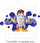 Logo of a Rocket Mascot Cartoon Character with a Blue Paint Splatter Behind Him by Toons4Biz