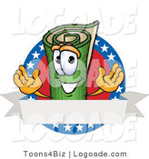Logo of a Rolled Green Carpet Mascot Cartoon Character with Stars and a Blank Label by Toons4Biz