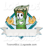Logo of a Rolled Sod Mascot Cartoon Character with a Blank Label by Toons4Biz