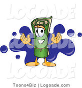 Logo of a Rolled Sod Mascot Cartoon Character with a Blue Splatter by Toons4Biz