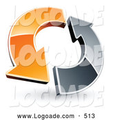 Logo of a Rotating Orange and Chrome Arrow Circling by Beboy
