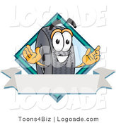 Logo of a Rubber Tire Mascot Cartoon Character with a Blank Ribbon Label and a Blue Diamond by Toons4Biz