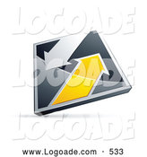 Logo of a Shiny 3d Chrome and Yellow Diamond with Arrows by Beboy