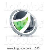 Logo of a Shiny Black and Green Round Button by Beboy