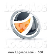 Logo of a Shiny Black and Orange Round Button by Beboy