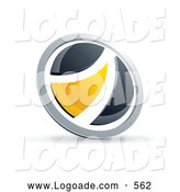 Logo of a Shiny Black and Yellow Round Button by Beboy