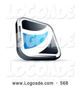 Logo of a Shiny Black Square Button with a Blue Wave by Beboy