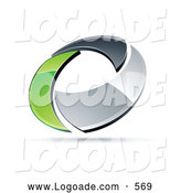 Logo of a Shiny Chrome and Green Circling Ring by Beboy