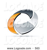 Logo of a Shiny Chrome and Orange Circling Ring by Beboy