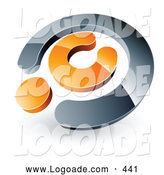 Logo of a Shiny Chrome and Orange Copyright Symbol, Above Space for a Business Name and Company Slogan by Beboy