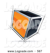 Logo of a Shiny Cube with Orange and Black Sides by Beboy