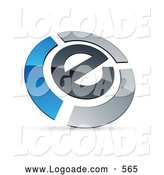 Logo of a Shiny E Circled by Chrome and Blue Bars by Beboy