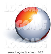 Logo of a Shiny Pre-Made Logo of an Orange and Silver Orb Above Space for a Business Name and Slogan, on a White Background by Beboy