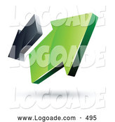 Logo of a Shiny Pre-Made Logo of Green and Gray Arrows Going in Opposite Directions by Beboy