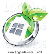 Logo of a Shiny Round Chrome and Green House Button with Leaves by Beboy