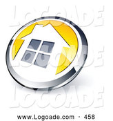 Logo of a Shiny Round Chrome and Yellow Home Button on White by Beboy