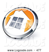 Logo of a Shiny Round Silver and Orange Home Button by Beboy