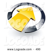Logo of a Shiny Yellow Arrow Pointing Inwards in a Blue Circle by Beboy
