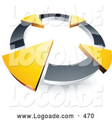 July 28th, 2013: Logo of a Silver Circle with Four Green Arrows Pointing Inwards by Beboy