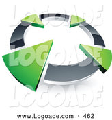 Logo of a Simple Chrome Circle with Four Green Arrows Pointing Inwards by Beboy