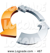 July 24th, 2013: Logo of a Simple Circle of One Orange Arrow and Two Chrome Arrow by Beboy