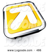 August 14th, 2013: Logo of a Simple White Arrow on a Yellow and Chrome Button by Beboy