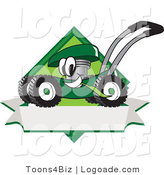 Logo of a Smiling and Excited Green Lawn Mower Mascot Cartoon Character Chewing Grass on a Blank Ribbon Label by Toons4Biz