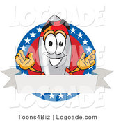 Logo of a Smiling and Friendly Rocket Mascot Cartoon Character with Stars and Blank Label by Toons4Biz