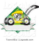 Logo of a Smiling and Outgoing Yellow Lawn Mower Mascot Cartoon Character Chewing Grass on a Blank Ribbon Label by Toons4Biz