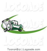 Logo of a Smiling Green Lawn Mower Mascot Cartoon Character Facing Front on a Logo or Nametag with a Green Dash by Toons4Biz